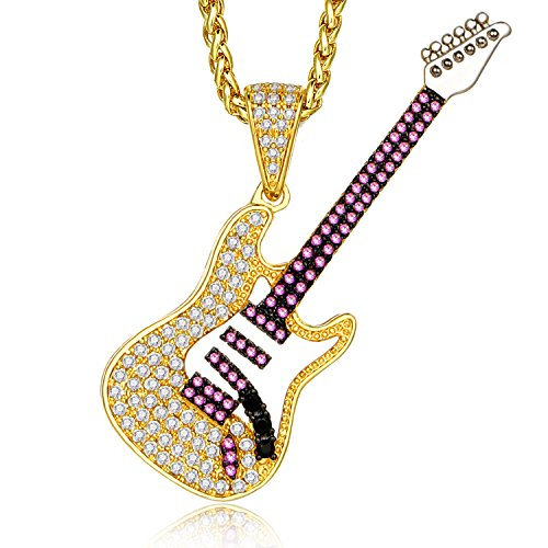 Lanroque 14k Gold CZ and Amethyst Electric Guitar Pendant Necklace for Men and Women, 26''