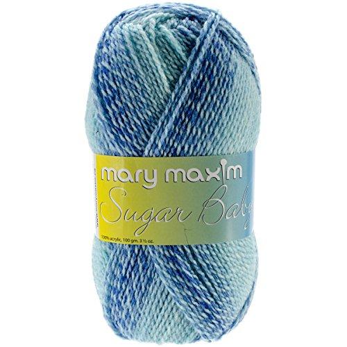 Mary Maxim Sugar Baby Stripes Yarn, Cool Mint