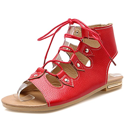 YE Women's Open Toe Caged Cutout Lace up Gladiator Flat Sandals Red JDOPCM8Vt