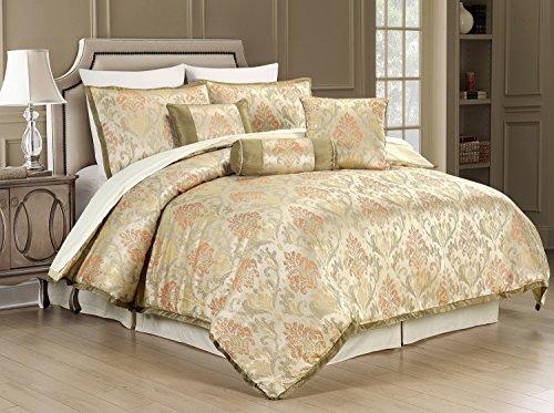 New 7-Piece Jacquard Floral Comforter Sets King, Modern 7-piece Bedding Sets Bed-in-a-Bag King Beige (Elegant Comforter Sets)