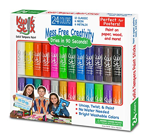 Brush Tempera Paint Tube - The Pencil Grip TPG-604 Kwik Stix Tempera Paint Pack of 24, Grade:Kindergarten to 12, Assorted  (Pack of 24)