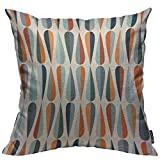 Mugod Drop Shapes Decoration Throw Pillow Cushion Covers Modern Style Retro Pattern with Drop Shapes in Tones Decorator Funny Pillows for Sofa Home Decor Couch Pillow Case 18 X 18 Inch