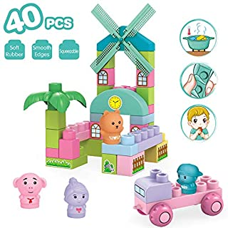 Soft Blocks Playset, Building Blocks for Kids, Infant, Baby, Toddler Boys & Girls. Great Beginners Toy Teething, Chewing, Toss in The Bathtub Idea Age 3M+
