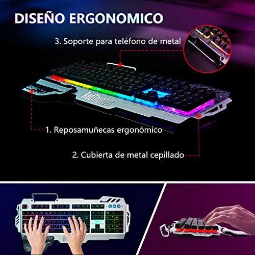 RedThunder Teclado Semimecánico Gaming, Retroiluminación RGB, Teclado Gaming PS4 con Cable USB, Teclado para PC/Laptop / PS4 / Xbox One (Teclados ...