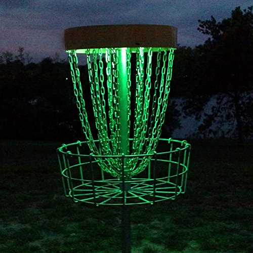 GlowCity Set of 2 LED Lights for Disc Golf Basket, Multi Colored, Remote Controlled, Waterproof, Includes Batteries and Adhesive Fastener to Attach (Basket Not Included) -