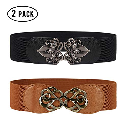 Wide Waist Belts for Women Fashion Elastic Stretch Cinch Belt for Dress 2 Pack