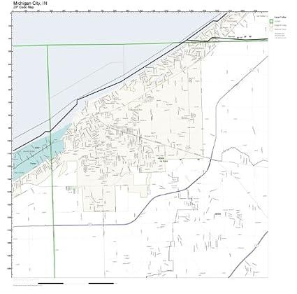Amazon.com: ZIP Code Wall Map of Michigan City, IN ZIP Code Map ...