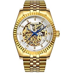 Topwatch® Sangdo Men Elegant Skeleton White Dial 18k Gold Stainless Steel Band Automatic Mechanical Watch