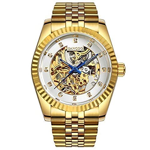 Topwatch® Sangdo Men Elegant Skeleton White Dial 18k Gold Stainless Steel Band Automatic Mechanical (Sangdo Automatic Watches)