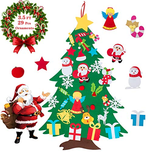 COCOMOON 35ft Felt Christmas Tree for Kids Outgeek with 29 Pcs Ornaments Wall Decor with Hanging Rope for Kids Xmas Gifts Home Door Decoration