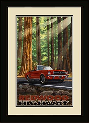Northwest Art Mall PAL-4632 MFGDM MIR Redwood Highway Mustang in Redwoods Framed Wall Art by Artist Paul A. Lanquist, 13 x 16