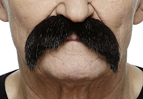 Mustaches Self Adhesive Fake Mustache, Novelty, Walrus False Facial Hair, Costume Accessory for Adults, Costume Accessory for Adults, Black Lustrous Color]()