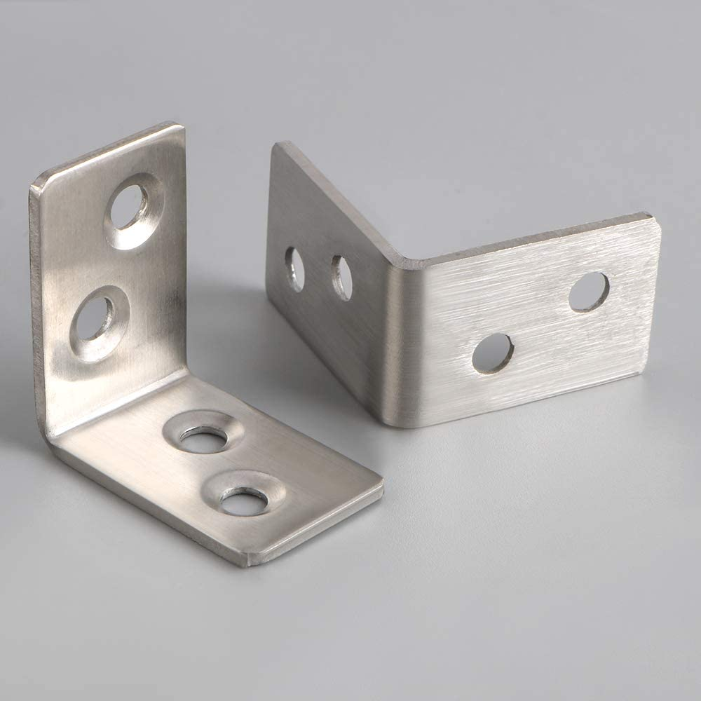 Stainless Steel Brushed Finished SJM30X30P-20P Mooche 20PCS Reinforced Angle Connector Bracket Corner Brace Joint