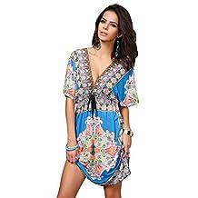 Ninimour Retro Paisley Print Hippie Boho Summer Dress