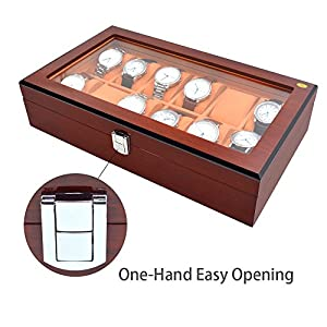 JINDILONG Watch Case for Men Wooden 10 Slots Premium Solid Watch Holder Organizer Display Large Watch Box Storage Adjustable and Durable