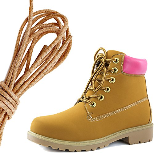 Dailyshoes Femmes Cheville À Lacets Rembourré Col Travail Combat Dur Toe Bottines, Marron Tan Rose Pu