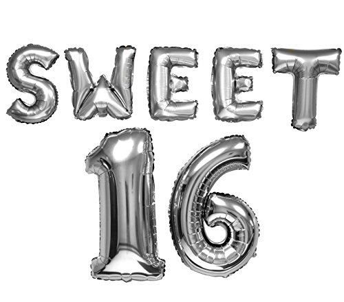 Birthday Decor SWEET 16 Banner Balloons 13'/23' (7 Balloon Set); Letter & Number Balloons Spell SWEET 16 (Silver Color)