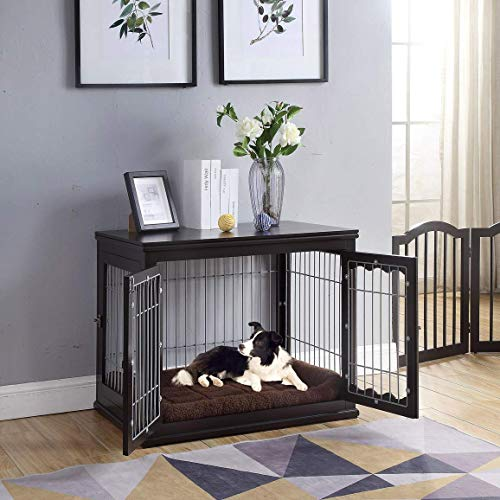 unipaws Dog Crate End Table with Pet Bed, Wooden Wire Dog Kennels with Double Doors, Modern Design Dog Crate Furniture for Indoor Use, Espresso