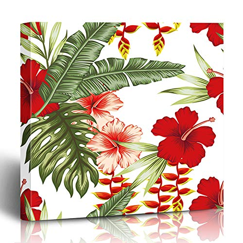 Ahawoso Canvas Print Wall Art 12x12 Inch Hawaiian Jungle Flowers Plants White Green Summer Tropical Leaf Modern Artwork Printing Home Decor Wrapp Gallery Painting