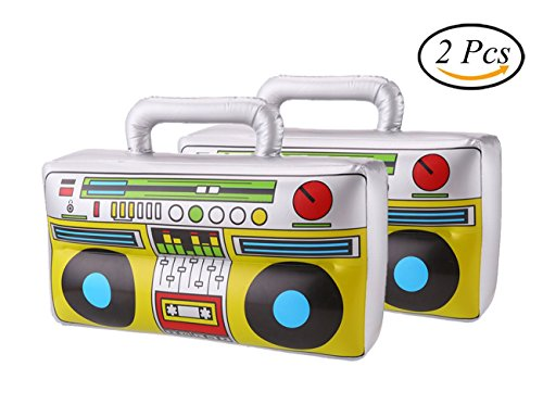 80's Themed Costume Party (DECORA 16 inch Inflatable Boombox for Party Decoration, Silver, Pack of 2)