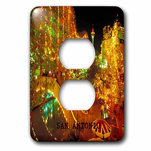 Florene America The Beautiful - Beautiful San Antonio Riverwalk At Night - Light Switch Covers - 2 plug outlet cover - Outlet Riverwalk