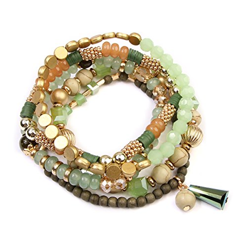 RIAH FASHION Bead Layering Multi Color Statement Bracelets - Stackable Beaded Strand Stretch Bangles (Bohemian Mix - Green)