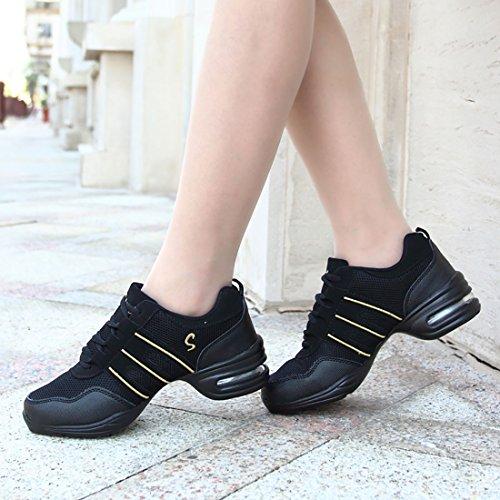 Shoes Womens Dance Trainers Lightweight Heel Sneaker Jazz YIBLBOX Ballroom Golden Mesh zqtxWwSxd6