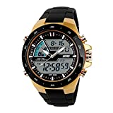 SKMEI Men's Digital Sports Watch with LED Back Light Large Face Water Resistant Military Watches Casual Luminous Stopwatch Alarm Simple Army Watch - Gold