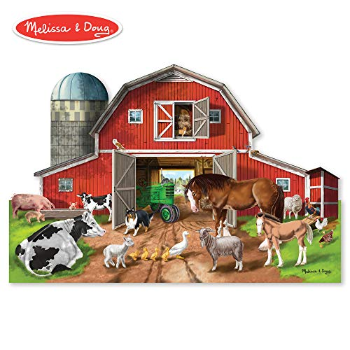 Melissa & Doug Busy Barnyard-Shaped Floor Puzzle (Beautiful Original Artwork, Sturdy Cardboard Pieces, 32 Pieces, 2' x ()