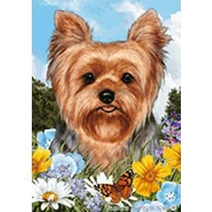 Bandera de Jardín Flores de verano–de cachorro de Yorkshire Terrier–
