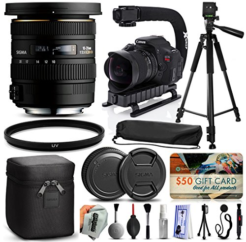 "Sigma 10-20mm F3.5 EX DC HSM Lens for Sony (202205) + Full Size 60"" Tripod + Action Video Stabilizer + Ultra Violet UV Filter + Deluxe Cleaning Set + Lens Brush + Cap Keeper -  47th Street Photo, SG202205K7"