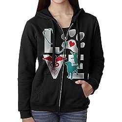 Women's Full Zip-Up Sweatshirt Veterinarian Love Cat And Dog Veterinary Active Pullover Fleece Hoodie Jackets