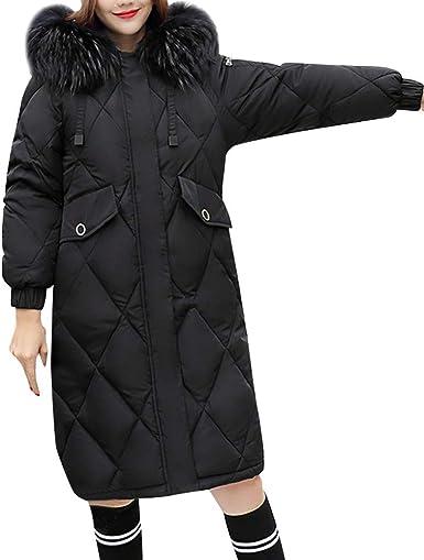 Linlink Mujer Invierno cálido Piel sintética con Capucha Gruesa ...