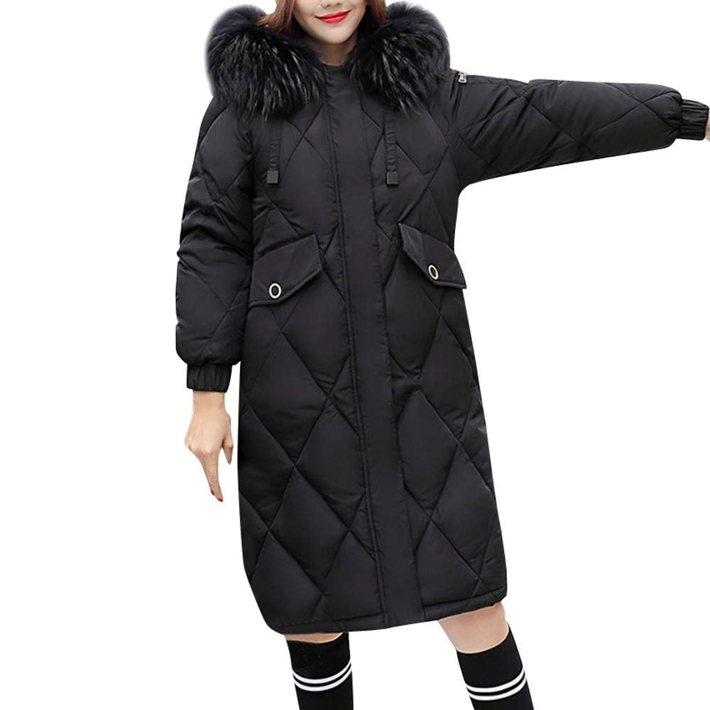 Black SERYU Thick Warm Slim Long Jacket Women Winter Warm Faux Fur Coat Hooded Overcoat