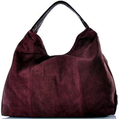 5d22f36d7ac7b STRAUSS Damen Handtasche XL-Trend-Bag Velours Leder Tasche Bordeaux 50x42  cm (BxH