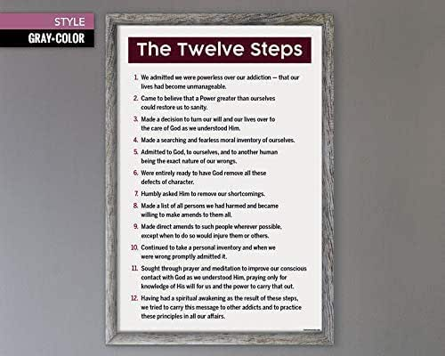 12 3 Styles Steps General Poster Sober Gifts - Generic Steps Mental Health Therapy Addiction Recovery Gift Posters The Twelve