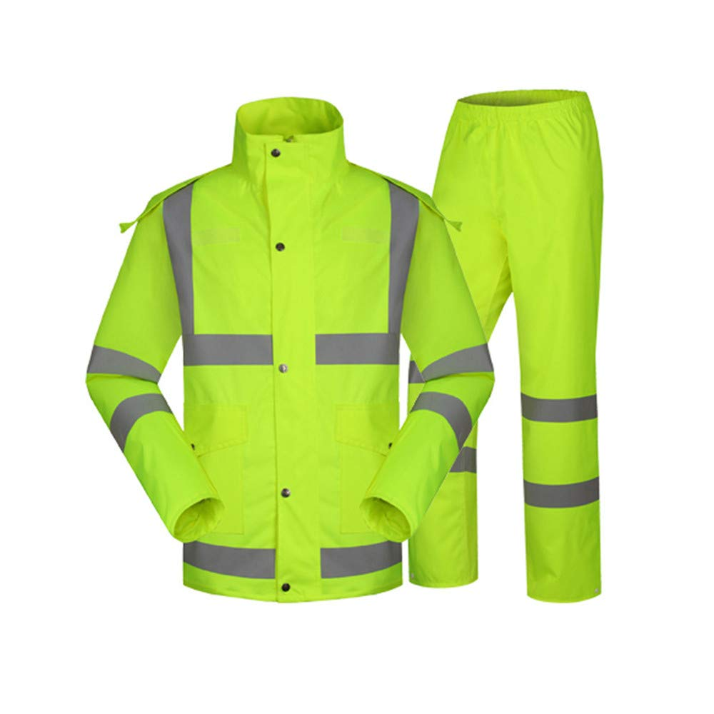 Large Chengzuoqing Waterproof jacket, reflective raincoat Mens Hi-Vis High Visibility Safety Bomber Jacket Reflective Stripes For Outdoor Work Outdoor raincoat, male and female (Size   XXL)