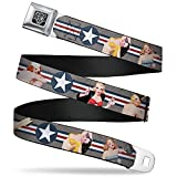 Buckle-Down Seatbelt Belt - Pin Up Girl Poses Star & Stripes Gray/Blue/White/Red - 1.0' Wide - 20-36 Inches in Length