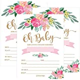 25 Cute Floral Oh Baby Shower Invitations For Girls,...