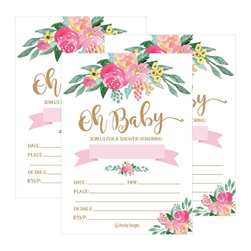 25 Cute Floral Oh Baby Shower Invitations For Girls, Pink Blush Gold Flowers Printed Write or Fill In The Blank Invite Unique Custom Vintage Coed Themed Party Card Stock Paper Supplies and Decorations ()