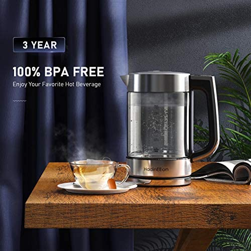 HadinEEon Electric Kettle Temperature Control Tea Kettle 1.7L, BPA-Free 1500W Fast Boil Water Boiler Glass Kettle Cordless with LED Light, Auto Shut-Off, Keep Warm, Boil-Dry Protection