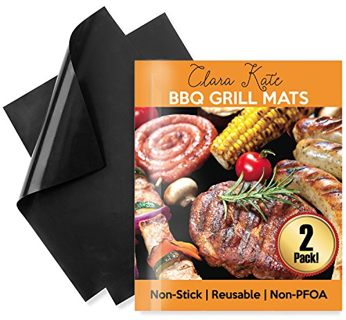 Clara Kate 100% Non-Stick Reusable BBQ Grill Mats, Works On Gas, Electric, And Charcoal Grills! Also Serves As Baking/Cookie Sheets, Or Pan Liners! FDA Approved! PFOA Free! Easy To Clean! (2 Pack) - Food Bar Tray Slide