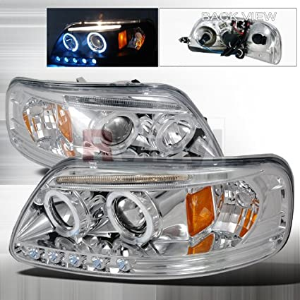 Ford Expedition 1997 1998 1999 2000 2001 2002 LED Halo Projector Headlights - Chrome