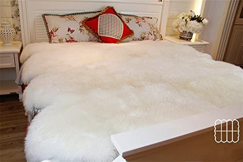 Large Genuine Imported Sheepskin Rug Fleece Extra Thick Fur 180 cm200 cm White