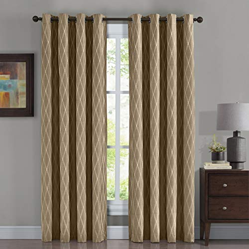 Victoria Thermal Blackout Panels, Top Grommet Jacquard Room Darkening Window Curtains, Pair, Set of 2 Panels, 54 inches Width by 120 inches Long Each Panel, Taupe (120 Panels Window)