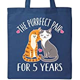 Inktastic - 5th Anniversary Gift Cat Couples Tote Bag Royal Blue