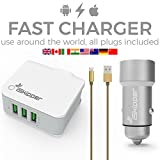 USB Wall Charger and Car Charger | IOS Android Compatible Cable | Worldwide Applicable 3 Ports 3.6A Home Charger | 2 Ports 3.4A Car Charger | Top Technology | Ultimate Protection | By iSkipper