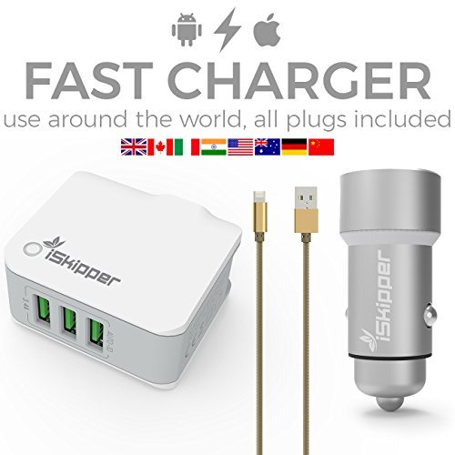 Car Charger | IOS Android Compatible Cable | Worldwide Applicable 3 Ports 3.6A Home Charger | 2 Ports 3.4A Car Charger | Top Technology | Ultimate Protection | By iSkipper (Usb Cable Car Home Charger)