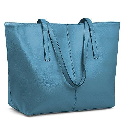 Jack&Chris Women's Genuine Leather Tote Bag Handbag Shoulder Bag,WBDZ038 (Blue Leather Handbags)