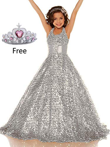 Gzcdress Shining Girl Dresses Long Sequins Pageant Girls Dresses Wedding Flower Toddler Gown 16 Silver